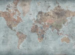 Fototapet premium, model 3d, harta lumii Around the World, dimensiuni pe comanda