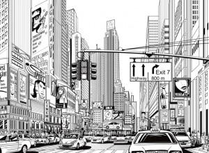 Fototapet premium, model 3d, benzi desenate Cartoon City, Pastel, dimensiuni pe comanda