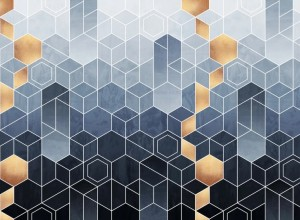 Fototapet premium, model 3d, ocean de hexagoane în gradient Gradient Geometry, dimensiuni pe comanda