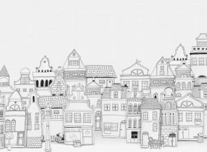 Fototapet premium, model 3d, Case conturate London Houses, Pastel, dimensiuni pe comanda