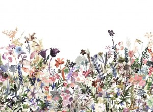 Fototapet premium, model 3d, flori sălbatice May Meadow, Pastel, dimensiuni pe comanda