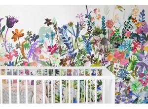 Fototapet premium, model 3d,  acuarele cu flori sălbatice May Meadow, dimensiuni pe comanda