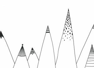 Fototapet premium, model 3d alb negru, munti desenati color , dimensiuni pe comanda