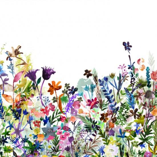 Fototapet premium, model 3d alb, flori desenate May Meadow , dimensiuni pe comanda