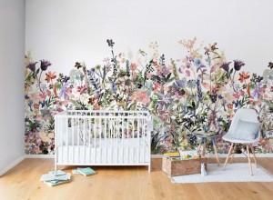 Fototapet premium, model 3d alb, flori desenate May Meadow Pastel, dimensiuni pe comanda
